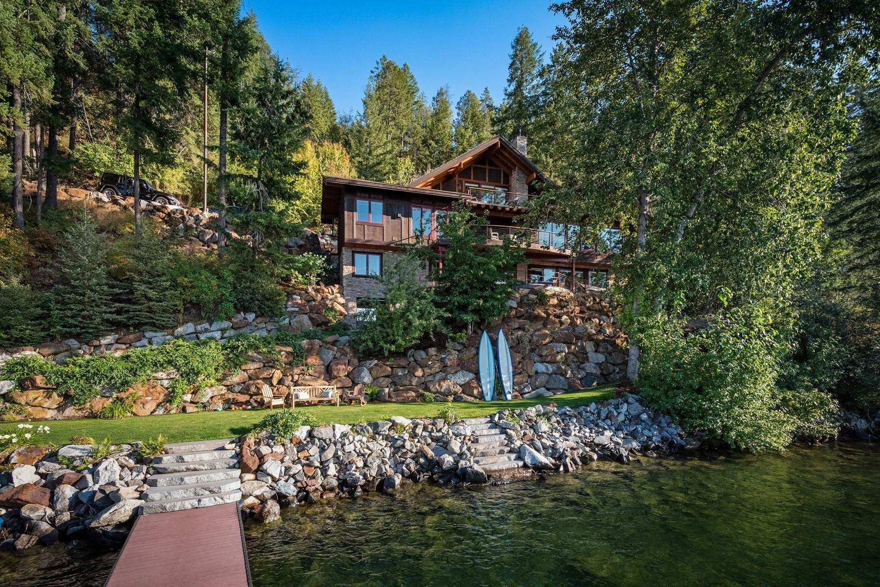 Single Family Homes for Sale at Contemporary Lake Pend Oreille Waterfront 3161 Bottle Bay Dr, Sagle, Idaho, 83860 United States